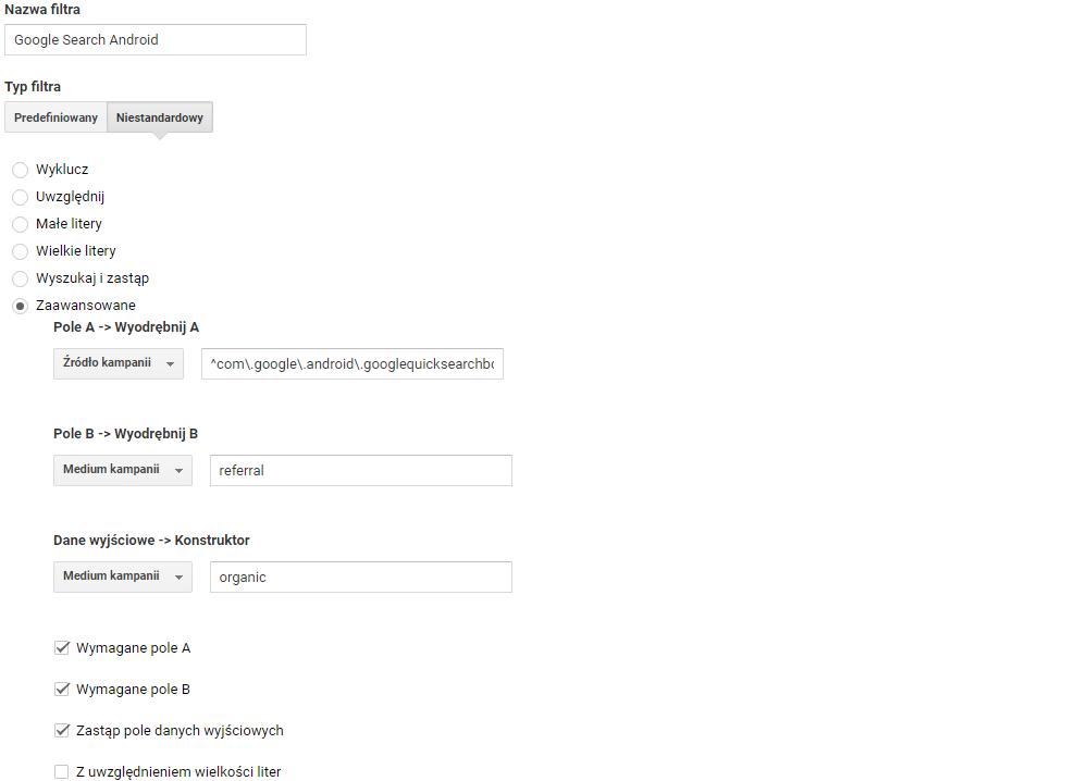 Warunki filtra niestandardowego dla com.google.android.googlequicksearchblox
