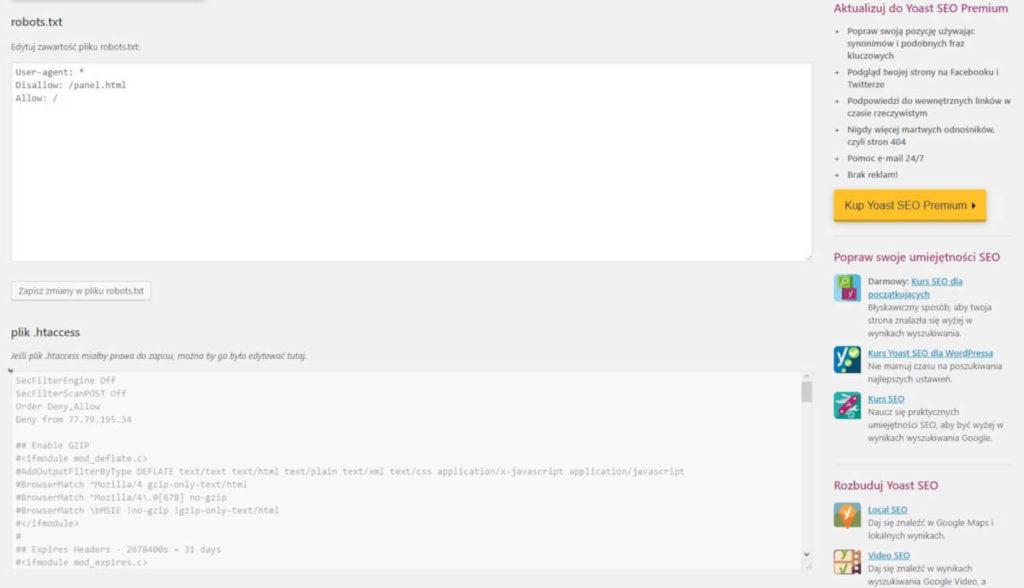 Okno, które pozwala dodać oraz edytować instrukcję dla googlebotów.