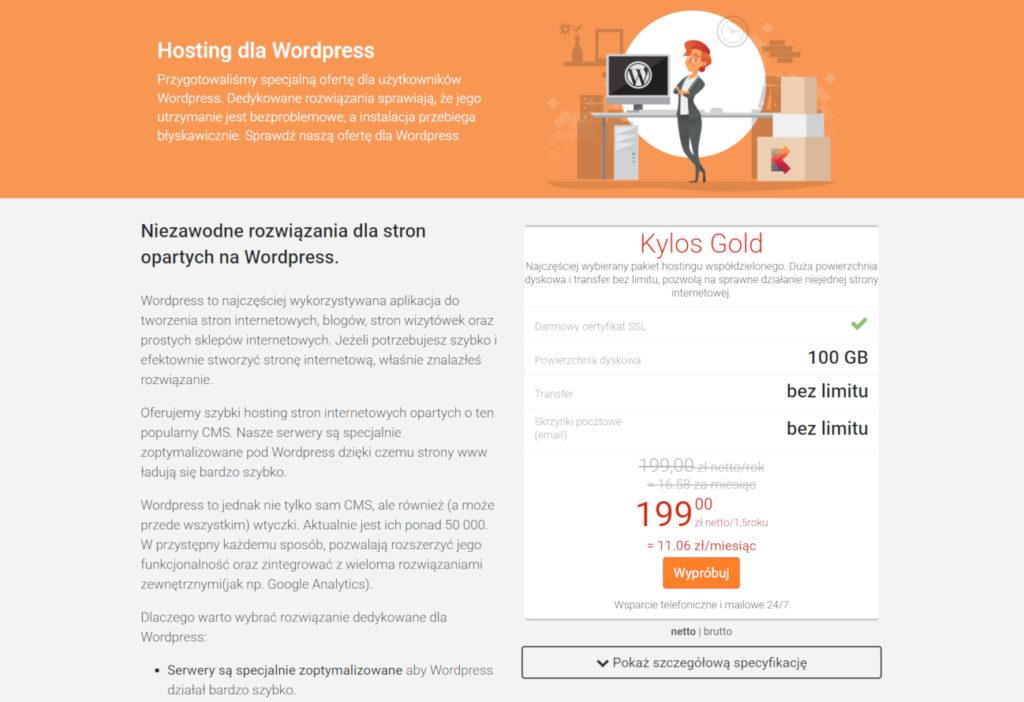 Przykład dostawcy hostingu, który zadbał o dodatkowe ułatwienia dla administratorów stron działających na silniku WordPressa (Kylos).