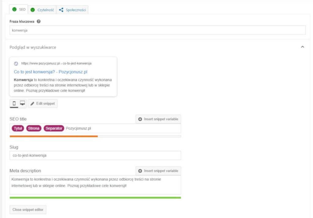 Uzupełnianie metadanych w Yoast SEO dla WordPressa.